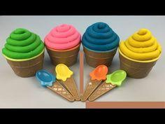 Play Doh Ice Cream Surprise Eggs Spiderman Disney Princess Iron Man The Good Dinosaur Toys - YouTube