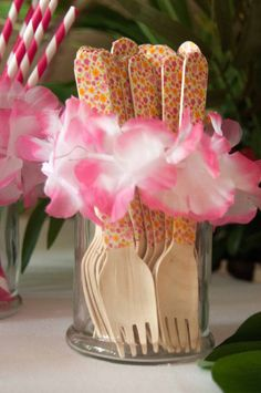 Wood forks at a Luau Party #luau #party