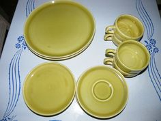 VINTAGE 15 PIECE SET OF AMERICAN MODERN DINNERWARE BY RUSSEL WRIGHT STEUBENVILLE