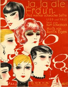 "Cover Sheet Music by Willy Herzig, 1928, ""Ja, ja die Frau'n"". (G)"