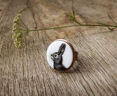 Animal ring Bunny Rabbit copper bunny rabbit by AbraKadabraJewelry