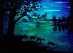 Glow in the Dark Deer Painting Forest lake Deer landscape