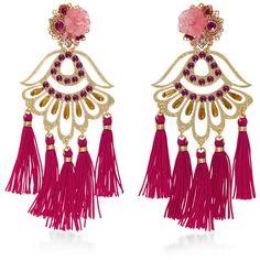 Mercedes Salazar Petit Aretes Fiesta Earrings ($215) ❤ liked on Polyvore featuring jewelry, earrings, pink, tassel jewelry, oversized earrings, handcrafted beaded jewellery, earring jewelry and tassle earrings