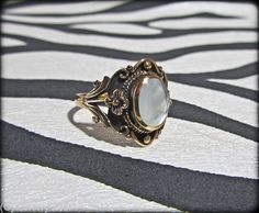 Bronze Floral Moonstone Ring