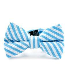 Blue Stripe Seersucker Bow Tie