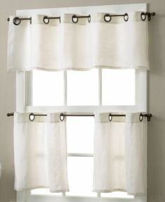 Elrene Window Treatments, Pair of Essex Grommet 30 x 24 Cafe Curtains - Tier Curtains - for the home - Macy's White Kitchen Curtains, Farmhouse Style Curtains, Bathroom Window Curtains, Kitchen Valances, Green Curtains, Long Curtains, Bathroom Windows, Rustic Curtains, Velvet Curtains