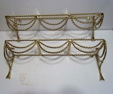 2 VINTAGE Brass? Metal and Glass Shelf Wall Hanging Twisted Ribbon Tassles