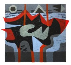 Peter Green - Red Evening Sea - woodcut and stencil print