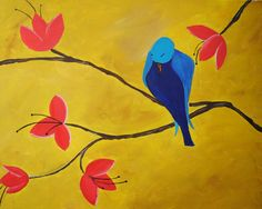Blue Bird Painting  - All paintings are taught at Painting and Pinot - Baton Rouge