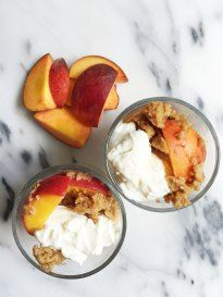 Vegan & Gluten-free Flourless Stovetop Peach Cobbler for Two. A twist in your traditional indulgent Peach Cobbler with a clean and healthy summer dessert.