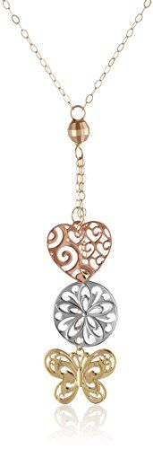 """14k Gold Tri-Color Heart, Butterfly, and Disc Lariat Necklace, 17"""" Amazon Collection http://www.amazon.com/dp/B0046ZT4ZW/ref=cm_sw_r_pi_dp_vkZKvb1110FT1"""
