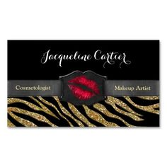 Elegant Gold Zebra Glitter Kiss Cosmetologist Business Cards (Pack Of 100)