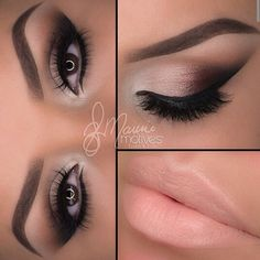 "1.Start by drawing a line on the outer edge of the eye using ""Raven"" blend inward at an angle 2.Apply ""Truffle"" then ""Bordeaux"" overlapping each color slightly 3.Taking ""Native"" blend in the crease 4.Take ""Gilded"" and apply after ""Bordeaux"" lastly to highlight the inner corner apply ""Shell"" 5.Apply the liner using ""little black dress"" to both top and bottom lashes! Smudge the liner slightly with ""Raven"" on the lower lash line 6.Done! Lips/Barefoot lipstick"