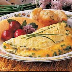 Cheesy Chive Omelet Recipe...I use green onions instead of chives, Yummy!
