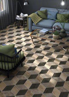 Adamant Okinawa Carbon, Veneto Canela y Kalawao Nube 22x38cm. | Floor Tiles Porcelain | VIVES Azulejos y Gres S.A. #porcelain #tiles #wooden