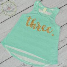 Third Birthday Shirt Girl Three Year Old Birthday Shirt 3 Birthday Shirt Girl 3rd Birthday Outfit Girl Green Tank Top 102 #3_birthday_outfit #3_birthday_shirt #3rd_birthday_girl