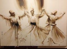 Sufi Meditation, Art Sketches, Art Drawings, Dance Paintings, Islamic Paintings, Book Of Kells, Arabic Calligraphy Art, Classic Paintings, Soul Art