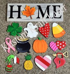 Interchangeable Home Sign Pieces Unfinished Wood Cutout Shapes Wood Crafts CutOut Home Interchangeable pieces Shapes Sign unfinished Wood Holiday Crafts, Fun Crafts, Diy And Crafts, Home Design, Design Crafts, Interior Design, Wood Projects, Craft Projects, Projects To Try