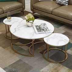 Living Room Coffee Tables Set of Round Nesting Tables with White Marble and Gold Metal Iron Base, Nest of 3 Center Table Living Room, Table Decor Living Room, Living Rooms, Living Room Designs, White Marble, Round Nesting Coffee Tables, White Round Coffee Table, Marble Top Coffee Table, Brass Coffee Table