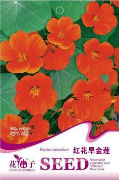 Original package flower seeds, red garden nasturtium tropaeolun seeds,mature flowering 60 days, 8 particles seeds / bag