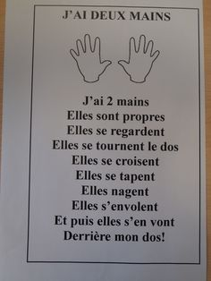 Comptine: j'ai deux mains Kindergarten Worksheets, Kindergarten Classroom, Preschool Activities, French Language Lessons, French Lessons, French Poems, French Worksheets, French Education, Core French
