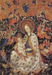 Stefano da verona Madone au rosier avec sainte Catherine (vers 1430) Tempera sur bois.