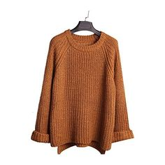 Hrph Fashion New Korean Style Girl Loose Pullover Sweater Autumn Women... ($20) ❤ liked on Polyvore featuring tops, sweaters, brown pullover sweater, loose fitting sweaters, pullover sweater, loose pullover sweater and loose tops