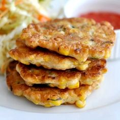 Spiced Sweet Corn Fritters with dipping sauce