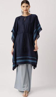 navy blue solid kaftan style kurti