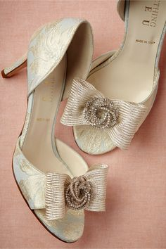 """Gia dOrsays from BHLDN Topped with a perky bow and sequin swirl, this romantic pair from Something Bleu features silk brocade and a subtle sheen. Brocade upper, leather sole. 3"""" fabric wrapped heel. Handmade in Italy."""