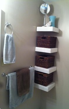Bathroom - corner shelfs/baskets