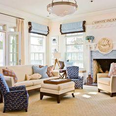 {Beach Cottage Decor} Nautical Living Room Ideas   Beach House DecoratingBeach House Decorating