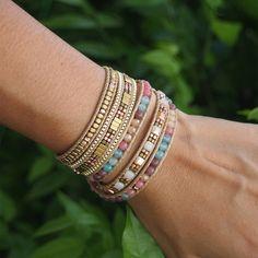 5 fois Bracelet Wrap Multi couleur perles mix Boho bracelet