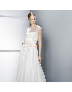 Wunderschöne kurze Ärmel A-linie Brautkleider aus Chiffon mit Schärpe - Jesús Peiró