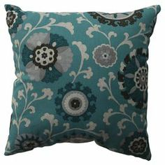 Cotton pillow with a teal medallion motif and eco-friendly fill.  Product: PillowConstruction Material: Cotton and polyester fillColor: Aqua, grey, and off whiteFeatures:  Insert includedMade in the USA