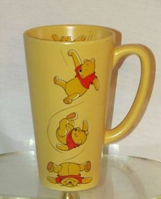 "Disney Store Mug Winnie The Pooh Yellow Ceramic Coffee Cup Mug 6"" Tall Coffee"