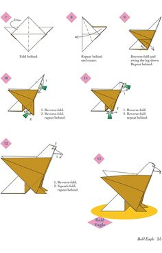 Easy Origami Animals - page 6 of 6 (Bald Eagle - 2 of 2)