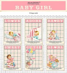 "Digital Vintage Style Baby Girl Bingo Cards/ pink retro baby ephemera cards / 5"" by 7"" and 3.5"" by 5"" / downloadable / printable"