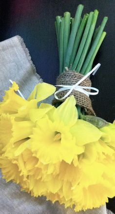 Silk Bridal Bouquet Yellow Daffodils Spring by SilkFlowersByJean, $45.00