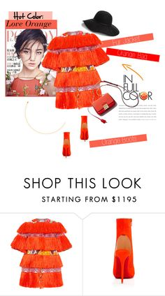 """No 313:Orange"" by lovepastel ❤ liked on Polyvore featuring Stella Jean, Christian Louboutin, GUESS, women's clothing, women, female, woman, misses and juniors"