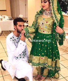 #afghan #wedding #dress #green #couple #afghani