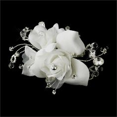 Ivory Rhinestone & Crystal Bead Flower Bridal Hair Clip $53.13 #wedding #bride #engagement #accessories #elegant #hair