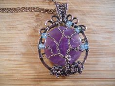 Tree of Life Pendant Lavender Amethyst and Sea by OurFrontYard, $35.77