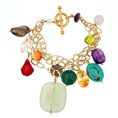 Multi gemstone triple strand vermeil bracelet with toggle