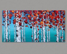 Original Birch Trees Painting Red Aspen and Birch Trees Modern Absract Landscape on Art board, framed Forest painting, art by Susie Tiborcz