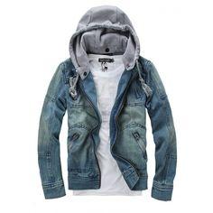 Buy Mens Blue Zipper Jean Jacket/Coat size M/L/XL@X302NH11S0D13 :... ($36) via Polyvore
