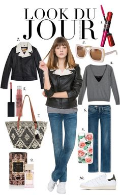 Look Du Jour: Au Jacke!. Grey shirt+jeans+white sneakers+black leather jacket+printed tote bag. Spring outfit 2016