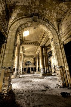 Detroit Neglected Beauty Abandoned Building by CareyPrimeau Abandoned Detroit, Abandoned Property, Abandoned Mansions, Abandoned Houses, Abandoned Places, Old Houses, Abandoned Mansion For Sale, Abandoned Warehouse, Classic Architecture