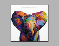 Colorful elephant painting on canvas wall decor от SumareeART Elephant Canvas Art, Elephant Artwork, Elephant Wall Decor, Elephant Paintings, Baby Elephant, Colorful Elephant, Thai Art, Canvas Wall Decor, Online Painting