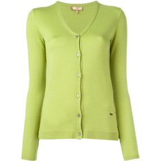 Fay classic cardigan ($382) ❤ liked on Polyvore featuring tops, cardigans, green, yellow top, green top, green cardigan, yellow cardigan and cardigan top